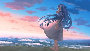 Rating: Safe Score: 28 Tags: barefoot beach clouds dress hatsune_miku sky vocaloid water yue_(tada_no_saboten) User: FormX