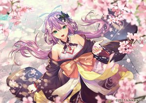 Rating: Safe Score: 89 Tags: blush cherry_blossoms flowers green_eyes japanese_clothes long_hair nijisanji purple_hair sakura_ritsuki twintails umiu_geso User: BattlequeenYume