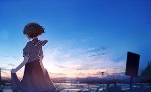 Rating: Safe Score: 30 Tags: black_hair clouds mifuru original seifuku short_hair skirt skirt_lift sky sunset User: RyuZU