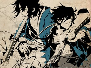 Rating: Safe Score: 42 Tags: hakuouki_shinsengumi_kitan katana okita_souji polychromatic saitou_hajime sword weapon User: Maboroshi