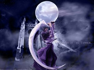 Rating: Safe Score: 47 Tags: building clouds moon orange_eyes short_hair sky stars sword thighhighs weapon white_hair User: Oyashiro-sama