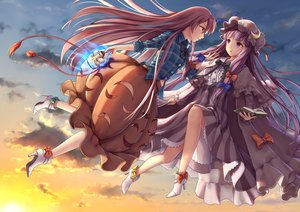 Rating: Safe Score: 5 Tags: 2girls book bow clouds dtvisu hat hata_no_kokoro long_hair mask patchouli_knowledge pink_hair purple_eyes purple_hair sky touhou User: RyuZU