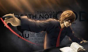 Rating: Safe Score: 90 Tags: all_male book brown_hair death_note male noctiscinema red_eyes shirt short_hair tie yagami_light User: N0ctis