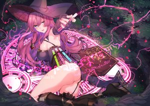 Rating: Questionable Score: 70 Tags: ass boots breasts dress forest garter_belt girusyu1945 grass hat long_hair magic original pink_hair purple_eyes tree witch witch_hat User: BattlequeenYume