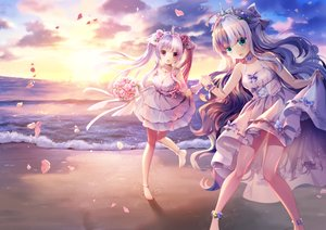 Rating: Safe Score: 121 Tags: 2girls anthropomorphism barefoot beach bow clouds dress flowers green_eyes long_hair m1 m2 mvv pink_eyes rose sky sunset tiara twintails water zhanjian_shaonu User: BattlequeenYume