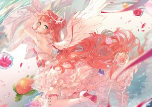 Rating: Safe Score: 73 Tags: angel animal daefny dress flowers green_eyes halo original pointed_ears red_hair thighhighs turtle water wings User: BattlequeenYume