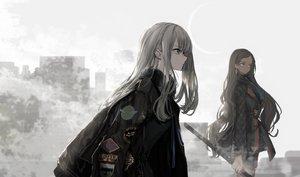 Rating: Safe Score: 87 Tags: 2girls aliasing building city long_hair naruwe original sword weapon User: BattlequeenYume