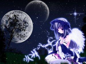 Rating: Safe Score: 11 Tags: brown_hair feathers grass moon night purple_eyes sky stars tagme tree wings User: Oyashiro-sama