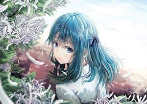 Rating: Safe Score: 66 Tags: blue_eyes blush flowers long_hair original ribbons windfeathers User: RyuZU