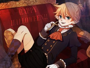 Rating: Safe Score: 12 Tags: all_male animal_ears fang halloween kagamine_len male pointed_ears tama_(songe) vocaloid User: HawthorneKitty