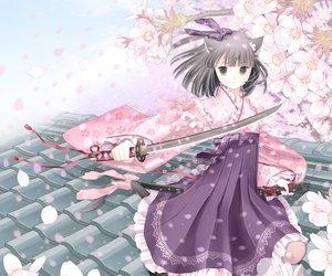 Rating: Safe Score: 77 Tags: animal_ears catgirl cherry_blossoms katana kuroinu original sword tail weapon User: SciFi