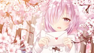 Rating: Safe Score: 81 Tags: cherry_blossoms close fate/grand_order fate_(series) flowers junpaku_karen mash_kyrielight petals purple_eyes purple_hair short_hair User: RyuZU