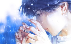 Rating: Safe Score: 22 Tags: all_male blue_eyes blue_hair close glasses male original polychromatic rain re° realistic short_hair water watermark wet User: mattiasc02