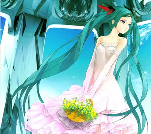 Rating: Safe Score: 78 Tags: dress flowers gloves hatsune_miku redjuice scan sky vocaloid world_is_mine_(vocaloid) User: anaraquelk2