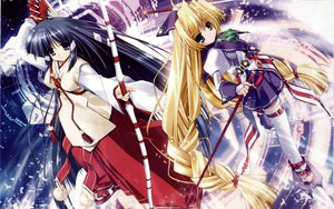 Rating: Questionable Score: 7 Tags: 2girls blonde_hair bow bow_(weapon) green_eyes japanese_clothes kagura_(prism_ark) long_hair ohno_tetsuya priecia prism_ark thighhighs weapon User: 秀悟
