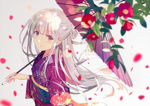 Rating: Safe Score: 90 Tags: blush close flowers japanese_clothes kimono long_hair original petals sutorora umbrella white_hair yellow_eyes User: otaku_emmy