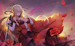 Rating: Safe Score: 109 Tags: bakemonogatari blonde_hair breasts crow_aberdeen elbow_gloves flowers gloves kissshot_acerolaorion_heartunderblade kizumonogatari long_hair monogatari_(series) oshino_shinobu petals pointed_ears ribbons rose signed sword weapon yellow_eyes User: RyuZU