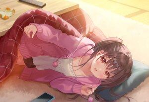 Rating: Safe Score: 59 Tags: aliasing blush brown_eyes brown_hair fukahire_sanba hoodie kotatsu long_hair original phone red_eyes twintails User: BattlequeenYume