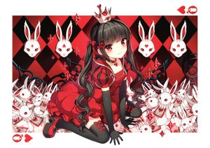 Rating: Safe Score: 133 Tags: aliasing alice_in_wonderland black_hair blush bow choker dress elbow_gloves gloves long_hair nardack queen_of_hearts red_eyes scan thighhighs twintails white_rabbit User: Dummy