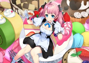 Rating: Safe Score: 46 Tags: apron aqua_eyes bon_(bonbon315) breasts cake cleavage food fruit gloves long_hair maid original pink_hair strawberry twintails User: Nepcoheart