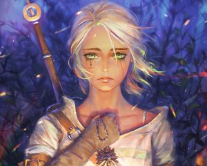 Rating: Safe Score: 165 Tags: cirilla_fiona_elen_riannon close cropped gloves green_eyes nababa necklace realistic short_hair sword tears the_witcher weapon white_hair User: mattiasc02