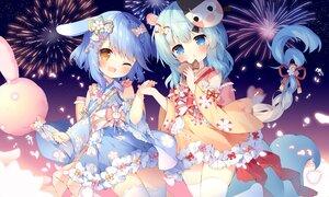 Rating: Safe Score: 70 Tags: 2girls animal_ears anthropomorphism azur_lane blue_hair blush braids candy fireworks food japanese_clothes loli lolita_fashion long_hair mikazuki_(azur_lane) minazuki_(azur_lane) ponytail tail taiyaki thighhighs tsukimi_(xiaohuasan) wink zettai_ryouiki User: BattlequeenYume