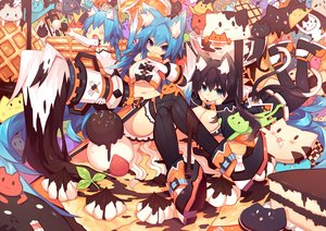 Rating: Safe Score: 153 Tags: animal animal_ears black_hair blue_hair breasts cat catgirl chocolate cleavage collar food long_hair mamuru multiple_tails original tail thighhighs underboob User: Flandre93