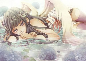 Rating: Questionable Score: 55 Tags: brown_eyes brown_hair flowers long_hair shabon thighhighs water wet wings User: opai
