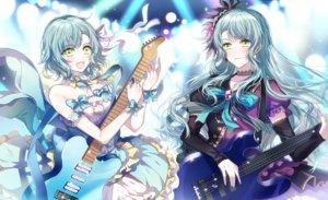 Rating: Safe Score: 29 Tags: 2girls aliasing aqua_hair bang_dream! bow choker dress green_eyes guitar headdress hikawa_hina hikawa_sayo instrument long_hair nennen ribbons short_hair twins wristwear User: ssagwp