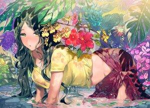 Rating: Questionable Score: 55 Tags: aliasing black_hair breasts flowers green_eyes long_hair no_bra ogino_atsuki original see_through water wet User: BattlequeenYume