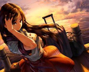 Rating: Safe Score: 123 Tags: brown_eyes brown_hair clouds long_hair original rukousou_no_hana school_uniform signed sky sunset water User: Flandre93