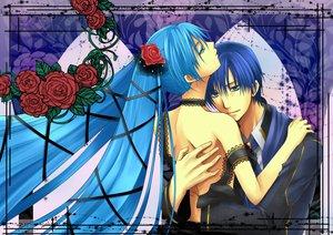 Rating: Safe Score: 30 Tags: aqua_eyes aqua_hair blue_hair cantarella_(vocaloid) dress flowers hatsune_miku hug kaito long_hair male ribbons rose short_hair twintails vocaloid User: HawthorneKitty