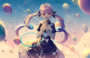 Rating: Safe Score: 53 Tags: blush bow clouds dress headdress hololive ji_dao_ji long_hair maid microphone minato_aqua purple_eyes purple_hair sky twintails wristwear User: BattlequeenYume