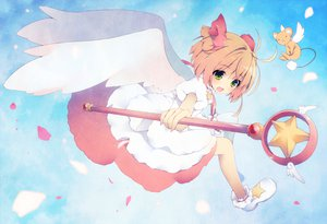 Rating: Safe Score: 48 Tags: animal card_captor_sakura kanora kinomoto_sakura mouse petals short_hair staff wings yellow_eyes User: Wiresetc
