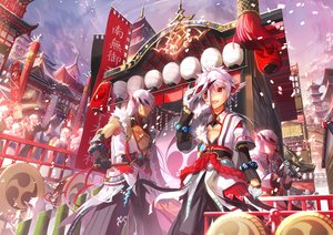 Rating: Safe Score: 14 Tags: building city clouds elbow_gloves elsword festival gloves group instrument long_hair male mask pink_hair red_eyes ribbons scarf scorpion5050 short_hair shrine sky tagme_(character) User: RyuZU