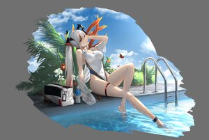 Rating: Safe Score: 65 Tags: anming butterfly clouds gray gray_hair long_hair original ponytail pool red_eyes sky swimsuit water User: BattlequeenYume