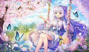 Rating: Safe Score: 50 Tags: bow butterfly dress flowers hayun long_hair original purple_eyes tree water white_hair User: BattlequeenYume