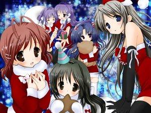 Rating: Safe Score: 43 Tags: christmas clannad fujibayashi_kyou fujibayashi_ryou furukawa_nagisa ibuki_fuuko ichinose_kotomi sakagami_tomoyo santa_costume twins User: Oyashiro-sama
