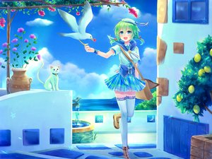 Rating: Safe Score: 25 Tags: animal aqua_eyes bird blush boots cat clouds flowers green_hair hat original short_hair skirt sky thighhighs twintails utsunomiya water wristwear zettai_ryouiki User: RyuZU