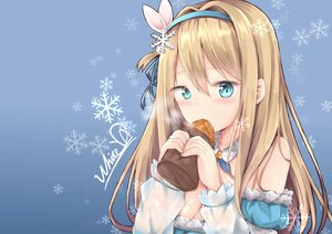 Rating: Safe Score: 23 Tags: blonde_hair blue_eyes blush breasts cleavage collar food girls_frontline hakuya_(white_night) headband long_hair signed snow suomi_(girls_frontline) taiyaki User: BattlequeenYume