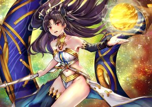 Rating: Safe Score: 32 Tags: black_hair fate/grand_order fate_(series) ishtar_(fate/grand_order) kelinch1 long_hair navel red_eyes thighhighs weapon User: RyuZU