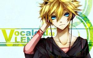 Rating: Safe Score: 10 Tags: all_male aoshiki aqua_eyes bandage blonde_hair headphones kagamine_len male vocaloid User: Maboroshi