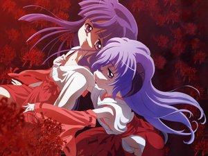 Rating: Safe Score: 19 Tags: furude_rika hanyuu higurashi_no_naku_koro_ni horns japanese_clothes miko purple_eyes purple_hair red User: Oyashiro-sama
