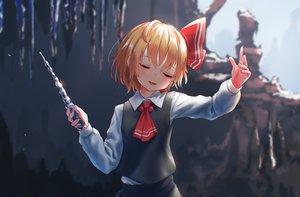 Rating: Safe Score: 53 Tags: blonde_hair blush bow roke_(taikodon) rumia short_hair tie touhou wand User: RyuZU
