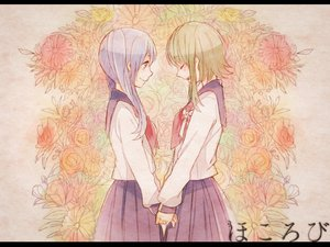 Rating: Safe Score: 48 Tags: 2girls flowers gumi hatsune_miku school_uniform tama_(songe) tears vocaloid User: FormX