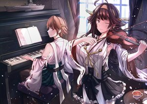 Rating: Safe Score: 30 Tags: 2girls aliasing anthropomorphism antiqq brown_hair drink headband hiei_(kancolle) instrument japanese_clothes kantai_collection kongou_(kancolle) long_hair petals piano purple_eyes short_hair violin wink User: RyuZU