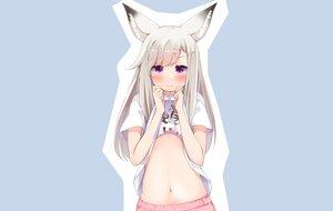 Rating: Questionable Score: 35 Tags: animal_ears animare blue blush flat_chest foxgirl green_hair long_hair navel pajamas purple_eyes sch shiromiya_mimi shirt_lift User: otaku_emmy