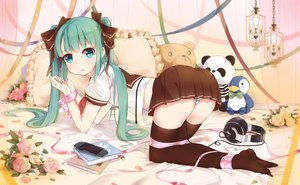 Rating: Safe Score: 304 Tags: aqua_eyes aqua_hair ass bondage book flowers game_console hatsune_miku headphones long_hair panties ribbons rose skirt striped_panties teddy_bear thighhighs twintails underwear vocaloid yamano_(yamanoh) User: Flandre93