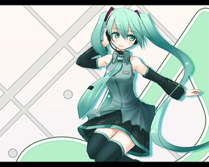 Rating: Safe Score: 35 Tags: hatsune_miku headphones tie twintails vocaloid User: anaraquelk2
