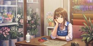 Rating: Safe Score: 65 Tags: brown_hair flowers green_eyes idolmaster idolmaster_cinderella_girls long_hair necklace shibuya_rin signed tagme_(artist) User: RyuZU
